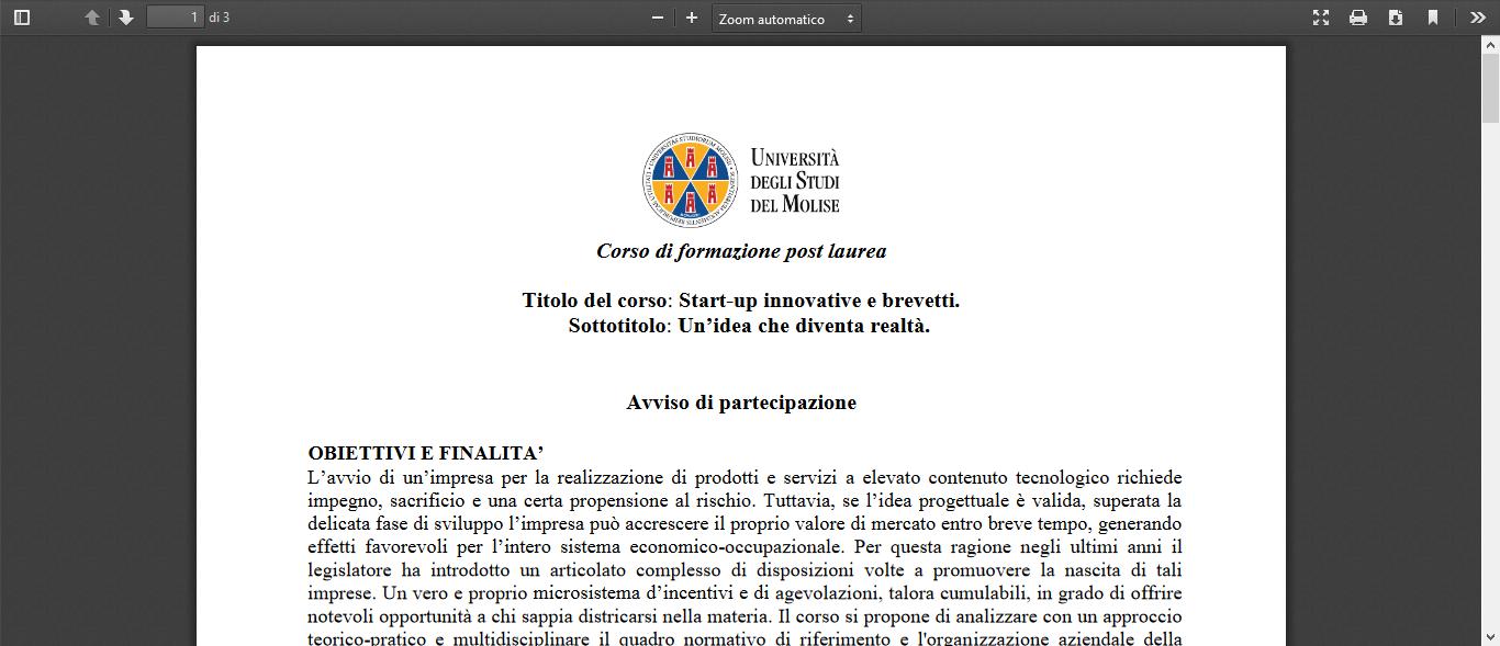 Corso formazione post laurea startup innovative brevetti