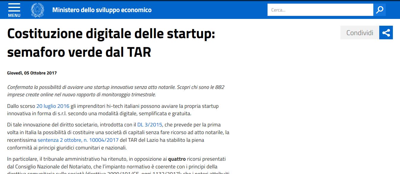Costituzione digitale delle startup