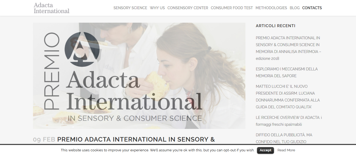 PREMIO ADACTA INTERNATIONAL IN SENSORY & CONSUMER SCIENCE